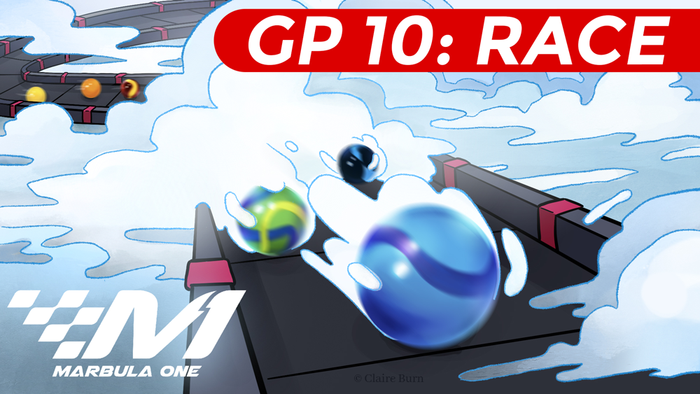 Thumbnail for Marbula One GP 10: Race. Marble race on a circuit track surrounded by fog, and break through the heavy clouds.