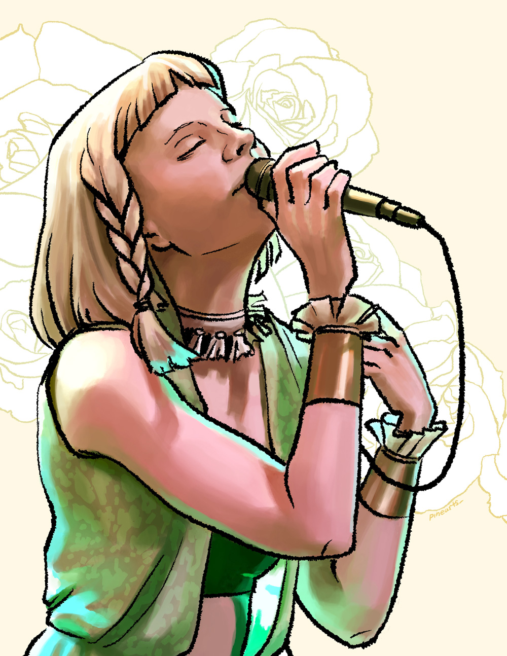 A painting of the singer Aurora Aksnes, referenced from own photo.