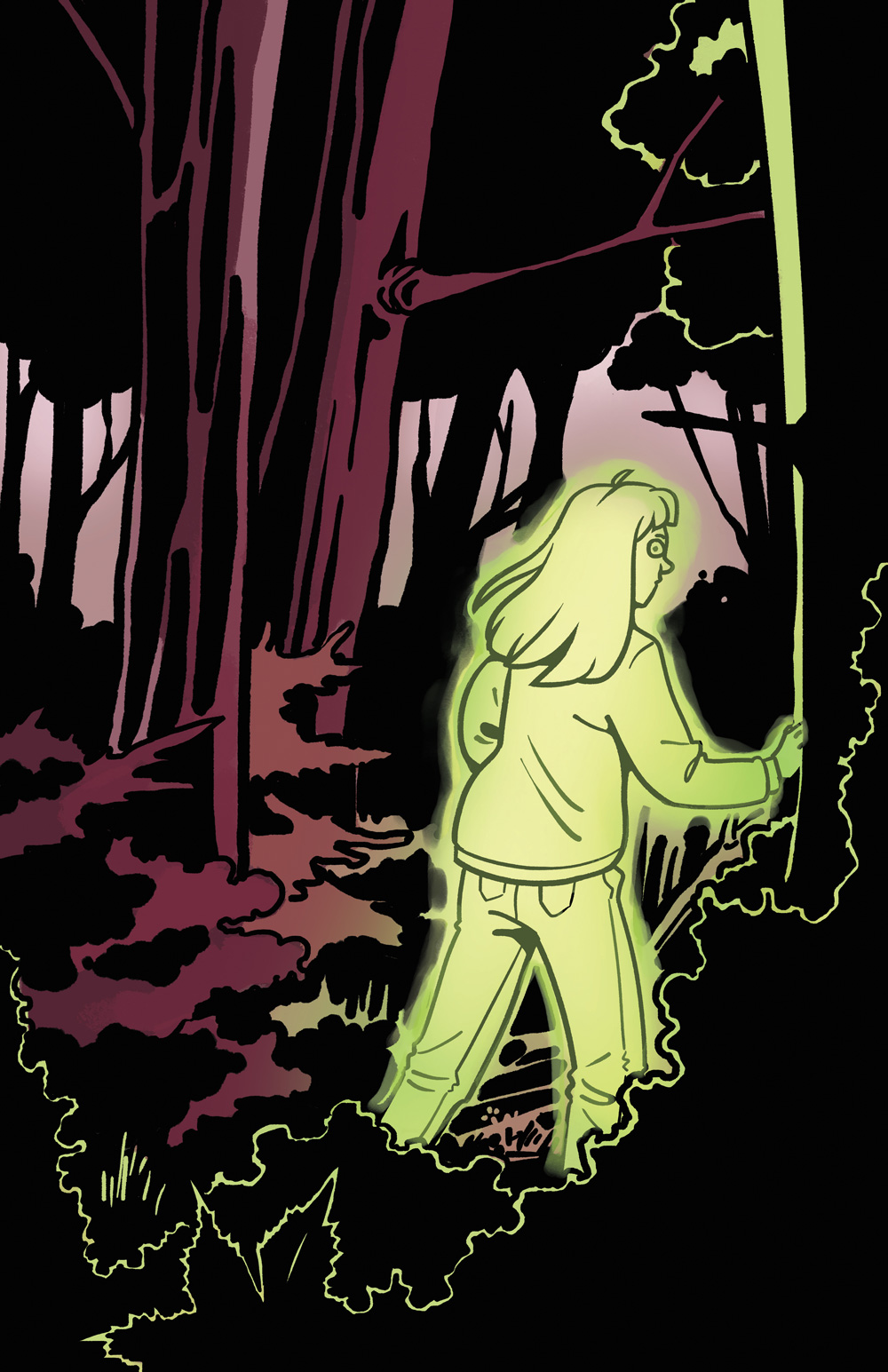 A green, ghostly girl stands in the woods.