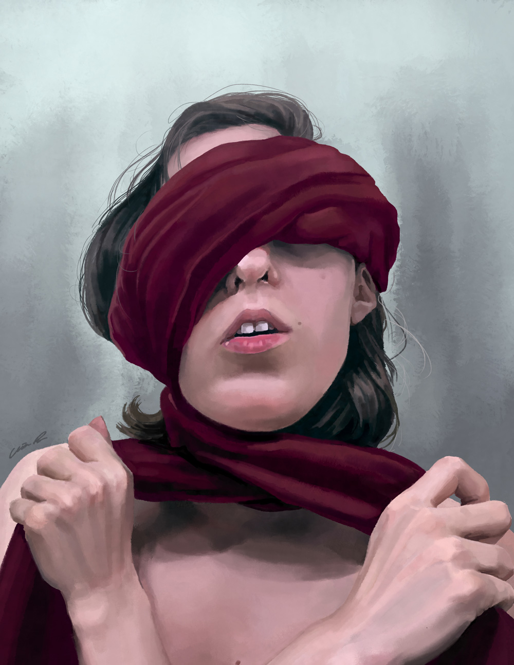 Self-portrait, chest up. Red fabric is wrapped around my eyes and neck.